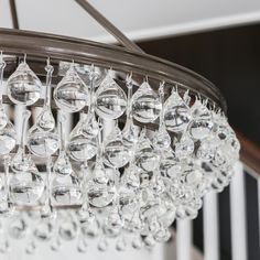 Draped in an abundance of smoothed shaped clear drops and balls, the contemporary Crystorama Calypso collection is a perfect statement for a living room, dining room, bathroom or entry. Bronze Chandelier, Chandelier Lighting, Crystal Chandeliers, Glass Ball, Clear Glass, Light Fixtures, Sparkle, Ceiling Lights, Contemporary