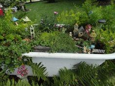 Fairy garden in a tub