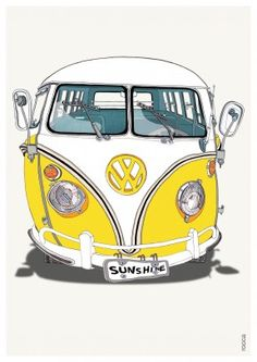 Caravan   Birthday Card   BO1036 Volkswagen, Vw Bus, Vw Kombi Van, Transport Images, Bicycle Bell, Cute Illustration, Cartoon Illustrations, Vw Camper, Kids Playing
