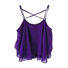 Crisscross-back Solid-tone Flounced Straps Tank ($15) ❤ liked on Polyvore featuring tops, shirts, tank tops, crop tops, tanks, purple crop top, ruffle tank, ruffle shirt, strappy crop top and strappy tank