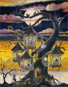 FOLK ART Witch Haunted Lantern Tree Halloween PRINT  by sunbyrum, $12.50