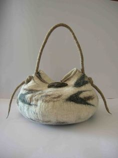 Etrurian amphora felt bag with wood button by inFELTrazioni