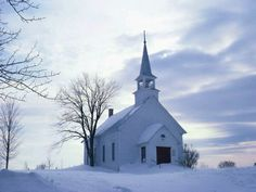 Snowy country church