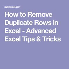 How to Remove Duplicate Rows in Excel - Advanced Excel Tips & Tricks