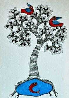 Gond Tribal Wall Art - Tree Of Life With Fish And Birds