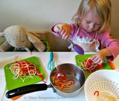 Spaghetti Shop Dramatic Play for Kids