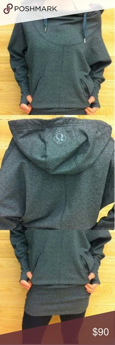 Lululemon Flashback pull over Lululemon flashback pullover . Ribbed bottom, thumb holes.?Oversized hood with logo.?Kangaroo pouch. NO SIGNS OF WEAR. lululemon athletica Sweaters Cowl & Turtlenecks