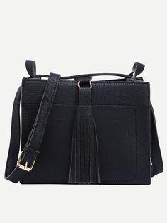 buy faux leather tassel trimmed shoulder bag black from abadaycom free shipping - Bensimon Color Bag