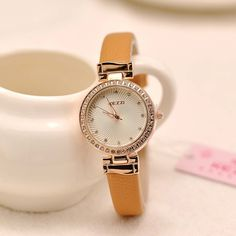 Kezzi original brand fashion watch women rhinestones crystal leather strap ladies quartz-watch hour clock montre femme