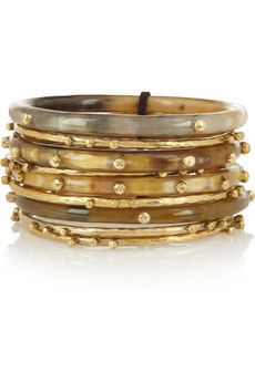 Shaba set of nine horn and gold-tone bangles