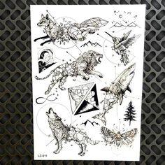Bear Waterproof Black Temporary Tattoo Stickers Women Body Art Moose Fake Water Transfer Geometric Tattoo Men Wolf Totem GLZ-412
