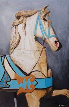 Alegrando Espacios   Caballito de madera  Cuadro en acrílicos Wood horse painting canvas