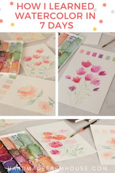 In this post I'll yeach you how to learn watercolor basics in 7 days like I did! You will find this new hobby exciting, theraputic and so fun. Learn Watercolor Painting, Watercolor Beginner, Watercolor Paintings For Beginners, Watercolor Images, Watercolor Techniques, Watercolor Cards, Watercolor Tips, Watercolor Portraits, Watercolor Landscape