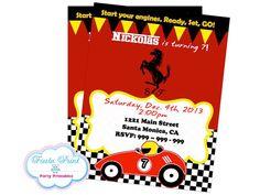 RACE CAR FERRARI Invitation  Birthday Party by FiestaPrint on Etsy, $8.00