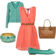 Coral and teal
