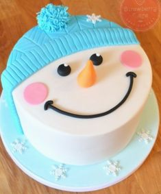 Schneemann-Kuchen Cakes and all things delicious Christmas Themed Cake, Christmas Cake Designs, Christmas Cake Pops, Christmas Cake Decorations, Holiday Cakes, Christmas Desserts, Christmas Baking, Xmas Cakes, Fondant Cakes
