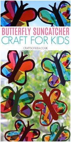 Butterfly Suncatcher Craft for Kids kidscrafts kidsactivities summercrafts preschool - Summer Crafts For Kids, Crafts For Girls, Spring Crafts, Art For Kids, Summer Crafts For Preschoolers, Creative Ideas For Kids, Crafts For Toddlers, Cute Kids Crafts, Children Crafts
