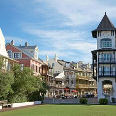 Cobblestone streets, flowered terraces, outdoor restaurants, stunning architecture, manicured greens where people spend afternoons playing bocce ball and reading books... great shops for books, toys, candy, clothing, decor...  music everywhere, bikes with giant baskets, a white-sand beach and lovely people...  Rosemary Beach is near-perfect.