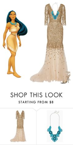 """Pocahontas"" by pinkbuttons85 ❤ liked on Polyvore featuring Disney and Marchesa"