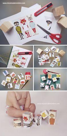DIY: Cubos de madera con dibujos de animales.   Mi cesta de mimbre