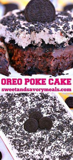 Oreo Poke Cake is a moist and creamy cake made with chocolate mix, cool whip cream, pudding, and crushed cookies. #oreo #oreocake #pokecake #oreopokecake #sweetandsavorymeals #bestdesserts #LemonCakeWithBlueberriesRecipe Oreo Poke Cakes, Oreo Cake, Cool Whip, Cupcakes, Cupcake Cakes, Dessert Parfait, Brownies, Cake Recipes, Dessert Recipes
