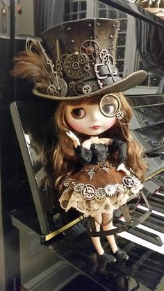My parents and I designed a steampunk doll for my little sisters Christmas present. Finished it very last minute My parents and I designed a steampunk doll for my little sisters Christmas present. Finished it very last minute Steampunk Cosplay, Chat Steampunk, Viktorianischer Steampunk, Steampunk Kunst, Steampunk Design, Steampunk Clothing, Steampunk Fashion, Gothic Fashion, Emo Fashion