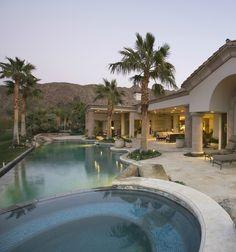 Resort style tropical swimming pool design.  Check out 100 more swimming pool design ideas at