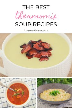 A collection of the BEST Thermomix Soup Recipes, includes our popular Chicken and Corn Soup and Potato Bacon and Leek soup recipes. Leek And Bacon Soup, Potato Bacon Soup, Leek Soup, Corn Soup, Tomato Soup Recipes, Vegetable Recipes, Thermomix Soup, Soups For Kids, Fun Easy Recipes