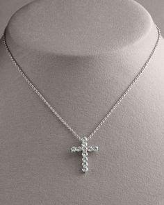 DIAMOND - Roberto Coin Diamond Cross Pendant Necklace, Large 18WG