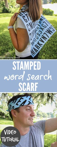 """In this entertaining video tutorial, learn how to transform acrylic paint into fabric paint so you can create a Stamped """"Word Search"""" Scarf or Bandana, a gift of great significance for any person of any age.  Happy Scarf Week!"""