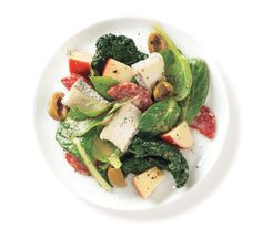 10 No Cook Summer Recipes. Pictured is Hearty Greens With Cheese, Salami, and Green Olives from Real Simple. Side Dishes Easy, Vegetable Side Dishes, Vegetable Recipes, Quick Appetisers, My Favorite Food, Favorite Recipes, Cooking Recipes, Healthy Recipes, Chef Recipes