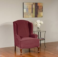 Dimples Merlot Wing Chair Slipcover. Deeply embossed dimple pattern, form fit slip cover design, living room, beautiful interior design, chic home decor, upholstery