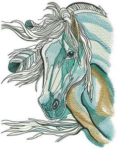 Dreamy sad horse machine embroidery design. Machine embroidery design. www.embroideres.com