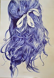 Rachel O'Brien - ballpoint pen art - girl's hair with ribbon Biro Art, Ballpoint Pen Drawing, Ink Illustrations, Illustration Art, Drawing Projects, Amazing Drawings, Art Sketchbook, Pencil Art, Cool Art