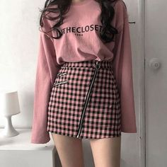 Hipster Outfits, Pink Outfits, Edgy Outfits, Mode Outfits, Korean Outfits Cute, Cute Outfits With Skirts, Edgy Hipster, Hipster Clothing, Summer Outfits