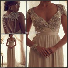 V neck Chiffon Crystals Beading Sash Cap sleeves Column Wedding Dresses