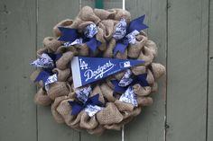 Dodgers,LA Dodgers,Burlap wreath,mlb wreath,mlb,baseball,sports,sports wreath,baseball fan,Christmas present,dodgers fan,LA Dodgers fan by RiverChicksBoutique on Etsy https://www.etsy.com/listing/211057327/dodgersla-dodgersburlap-wreathmlb