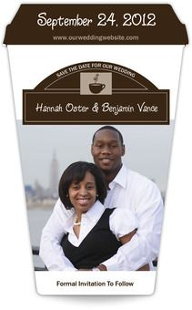 """Cafe Noir Coffee Cup Save the Date Magnet (3.5"""" x 5.5"""")"""