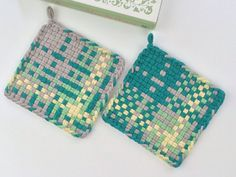 Woven Potholders All Cotton Loops Hand Dyed Gray by JemmaJamma, $14.00