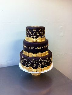 Gold & Chocolate for Claire's 40th by emmacakes, via Flickr - this beauty would make a lovely wedding cake too!
