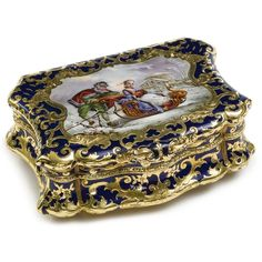 german gold snuff box | German enameled gold snuff box with signed enamel scene, Charles ...