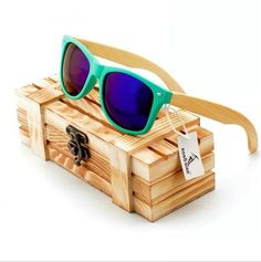 Unisex Polarized Sunglasses with Bamboo Legs in Wooden Gift Box