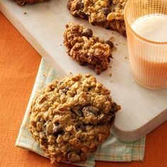 Wyoming Whopper Cookies Recipe -These big country cookies are made to travel—in fact, I came up with this recipe while trying to match a commercial cookie that was good, but too crumbly to carry. —Jamie Hirsch, Powell, Wyoming