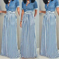 Casual Wear, Casual Outfits, Casual Clothes, Jean Outfits, African Inspired Clothing, Simple Style, My Style, Stripe Print, African Fashion