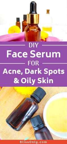 DIY face serum for acne scars dark spots and oily skin. It helps exfoliate the skin reduce redness and inflammation of acne fades dark spots scars and makes your skin glowing. Check out how to make it. Acne Dark Spots, Dark Spots On Face, Skin Spots, Acne Serum, Skin Serum, Acne Skin, Acne Scars, How To Exfoliate Skin, Oily Skin Care