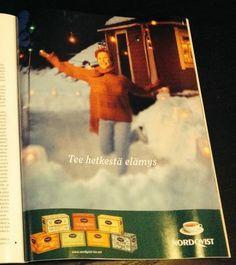 Nordqvistin teet maistuvat ympäri vuoden. DAFFissa tehtiin aikoinaan pakkaussuunnittelua ja jonkun verran mainontaakin. Tämän ilmon tein yhdessä AD oli Katri Väisäsen (silloin Saarinen) kanssa.