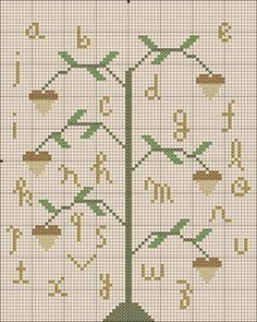 oak tree sampler free cross stitch
