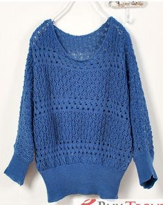 Korean Fashion Women's Hollow out Dolman Sleeve Sweater - BuyTrends.com