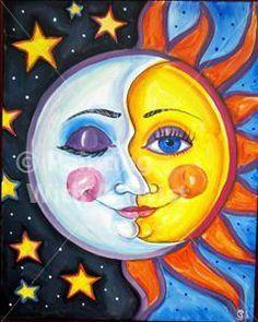 Sun & Moon - Painting with a Twist, Katy, TX Moon Painting, Painting & Drawing, Back Painting, Painting Inspiration, Art Inspo, Sun Art, Arte Pop, Paint Party, Art Plastique