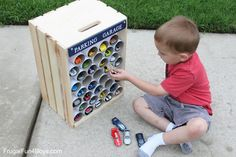 """Clever and easy to make """"Parking garage"""" http://frugalfun4boys.com/2015/05/26/diy-wooden-crate-hot-wheels-car-storage-and-display/"""